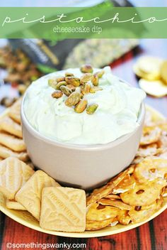 Pistachio Cheesecake Dip - Something Swanky Pistachio Cheesecake, Cheesecake Dip, Pistachio Pudding, Pistachio Cream, Dip Recipes, Appetizer Recipes, Cooking Recipes, Appetizers, Sweet Recipes