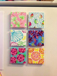 Lilly pulitzer DIY fridge magnets. Taylorstorrer