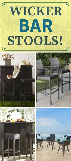 Wicker Bar Stools For Sale! Discover the best rattan wicker bar stools for your indoor bar or outdoor tiki bar. Wicker bar stools can come in seagrass themes or you can find backless bar stools. Short Bar Stools, Bar Stools For Sale, Bar Stools With Backs, Outdoor Tiki Bar, Outdoor Stools, Wicker Patio Furniture Sets, Bar Furniture, Wicker Bar Stools, Tiki Bar Decor