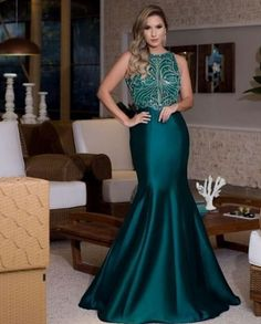 vestido de festa verde