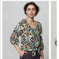 Beautiful Anthropologie Peasant Blouse This is a beautiful 100% silk peasant blouse by Vanessa Virginia through Anthropologie.  This blouse is so versatile.  Wear it on your shoulders for more work appropriate tucked in or wear off the shoulders with a vest for a more boho look.  This blouse is adorable.  This has only been worn a few times.  In excellent used condition.  No flaws or snags.  Anthropologie Tops