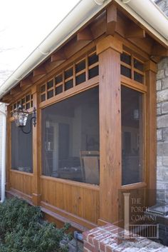 craftsman tapered columns with stone, cornices, no railing, bluestone porch, green siding with stone veneer Anthony Street House - Robert Nehrebecky Screened In Porch Diy, Screened Porch Designs, Front Porches, Porch And Patio, Screened Porch Decorating, Enclosed Porches, Side Porch, Patio Wall, Casa Patio