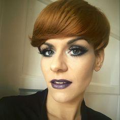 Dark lips , eye makeup