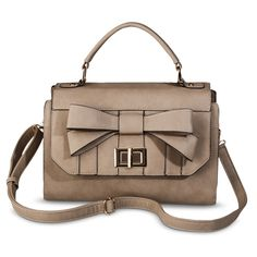 Melie Front Bow Satchel Handbag with Removable Crossbody Strap - Taupe