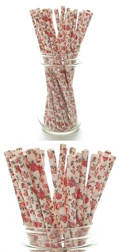 Pink Wedding Party Floral Straws (25 Pack) - Pink Fancy Dinner Party Supplies, Formal Birthday Flower Straws, Pink Flowers Girl Tea Party Birthday Straws