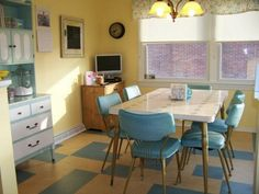retro furniture blue white yellow
