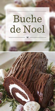 Köstliche Desserts, Holiday Baking, Christmas Desserts, Plated Desserts, Recipes Using Cake Mix, Cake Roll Recipes, Easy Yule Log Recipe, Christmas Log Cake, Chocolate Roll Cake