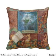 Shakespeare art with white unicorn pillow