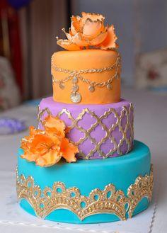 Moroccan themed cake #orange #punk #blue