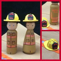 Firefighter figures - wooden peg doll, Martha Stewart paint, Sharpie orange & brown paint pens, Sculpey clay helmet.   #firemen #firefighter #banquet