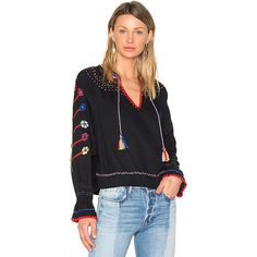 Ulla Johnson Vania Blouse ($425) ❤ liked on Polyvore featuring tops, blouses, embroidered peasant top, embroidered blouse, floral blouse, vintage silk blouse and tie blouse
