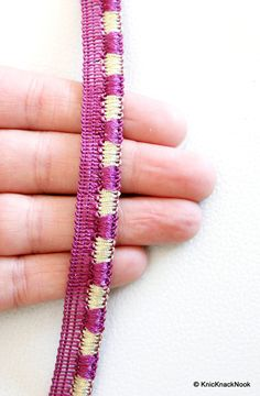 This listing is for a lovely Mauve And Silver Thread Lace Trim. This is a very unique fabric trim and a special KnicKnackNook find which you will not find anywhere else.  Width: 13 mm This listing is for 1 yard.  The fabric trim is perfect for making bracelets, belts, choker necklace, or whatever you can imagine, they will look just perfect with this trim.  Great for embellishing bags, clutches, jeans, dresses, table topper, scrap-booking and many other crafts and sewing projects.