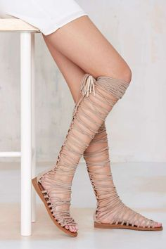 Jeffrey Campbell Valeria Lace-Up Gladiator Sandal in Nude Suede at Nasty Gal
