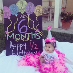 My niece turned 6 months. OF COURSE her Half Birthday was a reason to celebrate! I made her glitter/boa party hat!