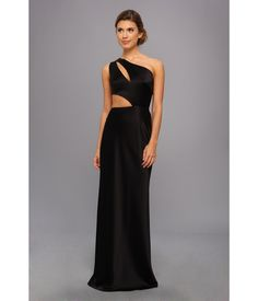 Dramatic one-shoulder gown boasts alluring cutouts at front and back bodice.. Small train at back ...