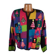 Ugly Christmas Sweater Vintage Tacky Multicolor Madness by purevintageclothing