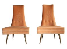 Mid-Century High Back Slipper Chairs - A Pair on Chairish.com