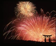 The Miyajima Water Fireworks Display   More than 5,300 fireworks are set up on the sea and the silhouette of the Otorii of the Itsukushima Shrine looks marvelous. #itsukusima #hirosima #japan 【宮島水中花火大会】
