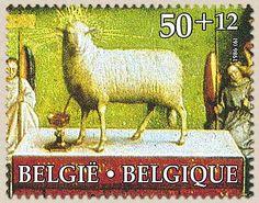 Belgian Stamps Culture : 'aanbidding van het Lam Gods.Gods Lamb