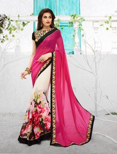 Pink Georgette Printed Saree With Blouse 67101