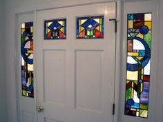 Custom entry door unit with stained glass windows using a prairie styled design. Stained Glass Door, Stained Glass Designs, Stained Glass Patterns, Entry Doors With Glass, Glass Doors, Old Home Remodel, Front Door Design, Mosaic Glass, Decoration