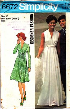 Draped Goddess Dress 70s Vintage Sewing Pattern Simplicity 6672 Size 10 Bust 32 1/2 inches UNCUT FF