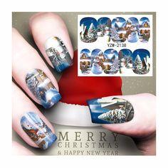 [Visit to Buy] ZKO 1 Sheet Nail Art Water Transfer Christmas Design Nail Sticker Watermark Decals DIY Nail Tips Decoration Wraps Tools 2138 #Advertisement