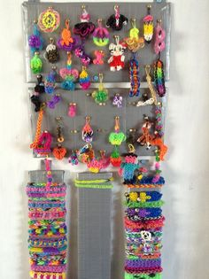 Cardboard, Duct Tape & split pins = easy Rainbow Loom storage :)