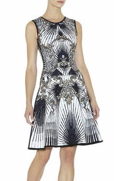 Herve Leger Fall 2013 Runway: Alexis Scroll Jacquard Studded Dress.