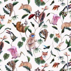In this exclusive wallpaper, toucans, foxes and an umbrella wielding slow loris' appear among the leaves of the bohemian palms. Monkey Wallpaper, Palm Wallpaper, Cream Wallpaper, Animal Wallpaper, Beautiful Wallpaper, Wallpaper Decor, Vinyl Wallpaper, Bohemia Wallpaper, Slow Loris
