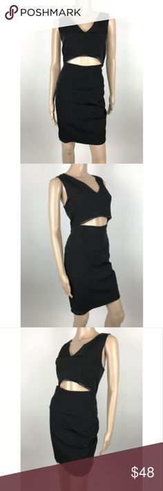 """French Connection Black Open Midriff V-Neck Dress French Connection women's black open midriff stretch sleeveless v-neck dress sz 8 Measurements laying flat: Armpit to Armpit 18"""" Waist 15"""" Length 35"""" French Connection Dresses Mini"""