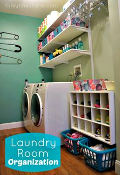 Check out this Organized Laundry room!  {You really MUST check out this blog post, lots of details, before/afters, and pictures. -Katie}