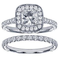 Diamond Encrusted Princess Cut Engagement Ring Bridal Set