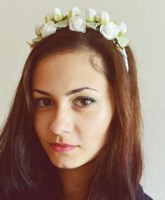 biały wianek - Gosia-Lisowska - Grzebyki do włosów