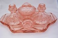 Pink depression glass set. Good design doesn't date!  Baronessa Home Furnishings and Accessories boasts a beautiful online showroom, which is a combination of custom made, vintage, and antique luxury home furnishings and accessories. Visit our website at www.ShopBaronessa.com.