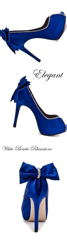 Material:Suede|Heel Height:12cm|Embellishment:Bowknot,Rhinestone   #wedding #bridal #weddingshoes #blue