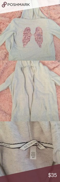 Victoria Secret angel wing hoodie It lost its little zipper charm but other than that it is in mint condition PINK Victoria's Secret Tops Sweatshirts & Hoodies