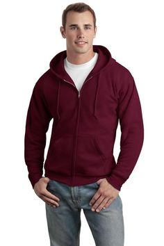 Hanes 7.8 oz Men's COMFORT BLEND EcoSmart Full-Zip Fleece Hood, Maroon, Small