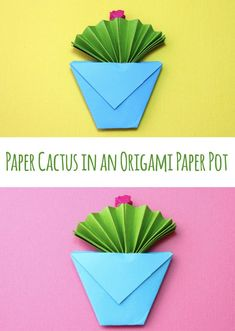 Paper Cactus in an Origami Paper Pot – Make Film Play This craft post is inspired by our origami fish post. I turned the origami fish upright and it looked like a cactus! So, I made a few alterations to make it look more like a cactus in a paper pot. Origami Star Box, Origami Ball, Origami Love, Origami Fish, Origami Flowers, Origami Paper, Origami Folding, Paper Flowers, Kids Origami