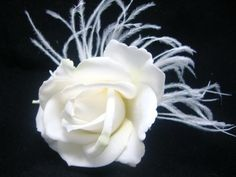 HairFlowers.net - White Wedding Real Touch Rose with Ostrich Feathers Hair Flower Clip, $39.99 (http://www.hairflowers.net/hair-flowers/white-wedding-real-touch-rose-with-ostrich-feathers-hair-flower-clip.html)