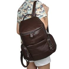 Vintage Genuine Leather Brown Small Backpack for Girls Women Small Backpack 7336