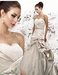 Strapless Ruched Bodice with A line Asymmetrical Pick up Skirt Hot Sell 2010 New Bridal Dress WD-0181
