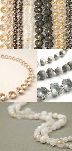 laura deakin.  Grey pearls, wrapped in clay I think.  Gives the feel of concrete.  New take of a diamond in the rough.