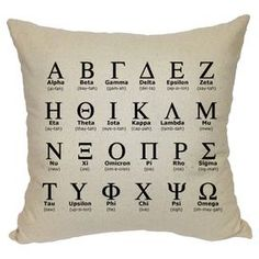 """Cotton canvas pillow with a Greek alphabet motif.   Product: PillowConstruction Material: Cotton canvas coverColor: CreamFeatures:  Knife edgeInsert included Dimensions: 20"""" x 20""""Cleaning and Care: Dry clean only"""
