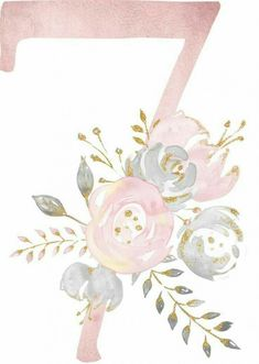 55 Trendy Ideas For Party Wedding Numbers Watercolor Lettering, Floral Watercolor, Wallpaper Backgrounds, Iphone Wallpaper, Diy And Crafts, Paper Crafts, Alphabet And Numbers, Flower Frame, Pink And Gold