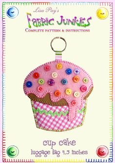 Felt and button cup cake-card topper, gift tag