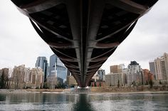 Underneath the Peace Bridge on the Bow River