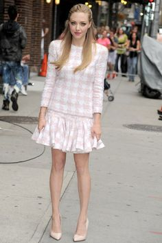 The Late Show With David Letterman, New York - July 30 2013  Amanda Seyfried arrived for an appearance on the television show wearing an ensemble from Balmain's pre-spring/summer 2014 collection and Rupert Sanderson heels.