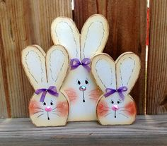 Three cute bunnies shelf sitter 13 by CountryCharmers on Etsy, $16.50