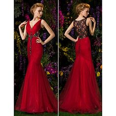 TS+Couture+Prom+/+Formal+Evening+Dress+-+Burgundy+Plus+Sizes+Trumpet/Mermaid+V-neck+Sweep/Brush+Train+Lace+–+USD+$+149.99